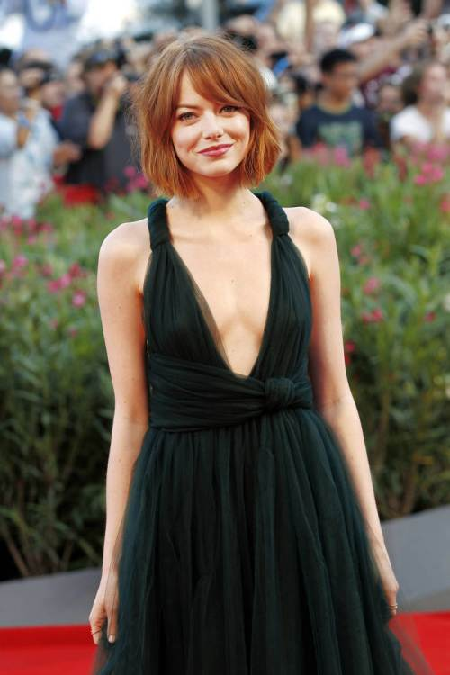 Emma Stone short red bob hairstyles 2015