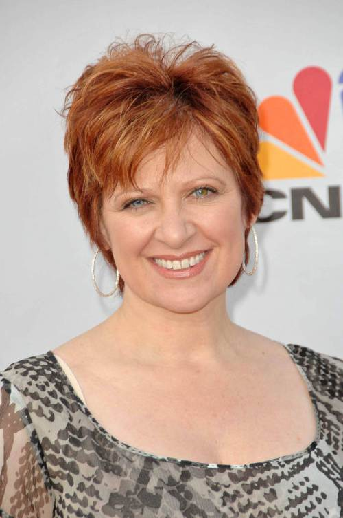 Caroline Manzo sassy short red hairstyles 2015