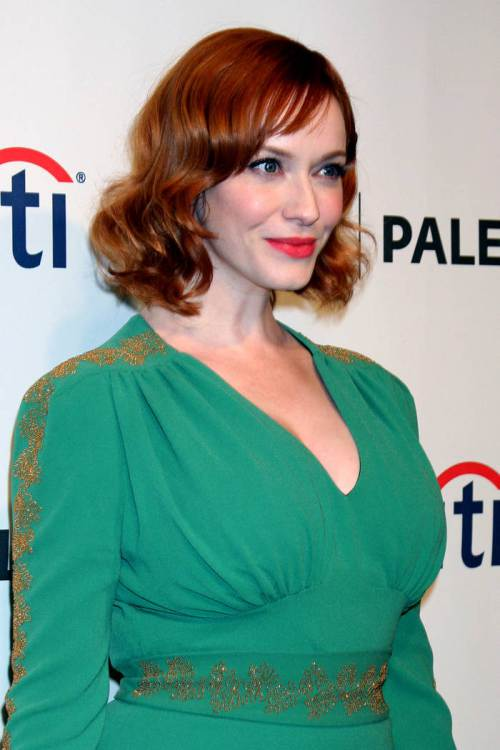 Christina Hendricks wavy short red hairstyles 2015