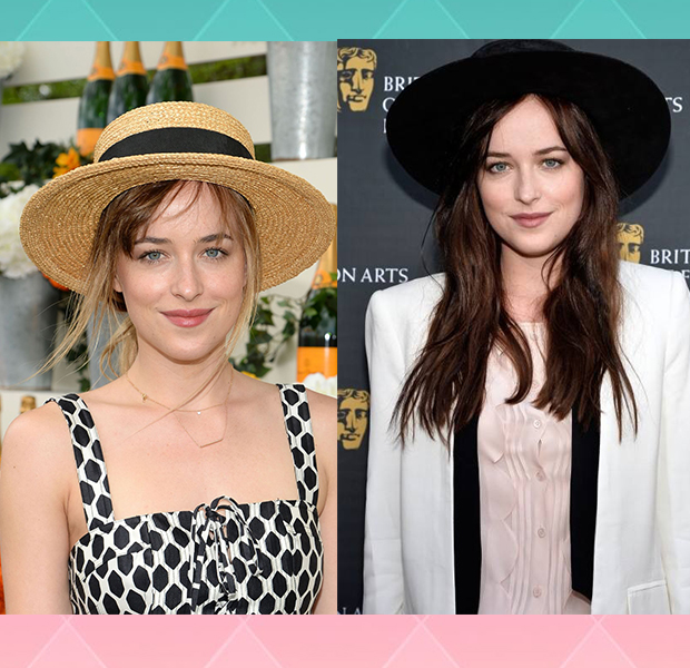 Dakota Johnson celebrity hairstyles with hats 2015