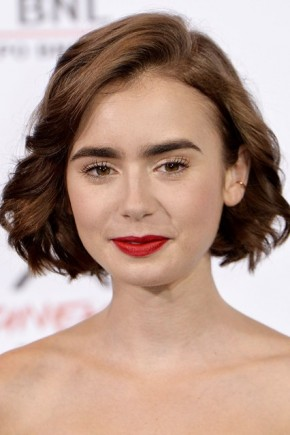 Lily Collins bob hairstyles 2015