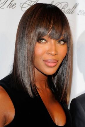 Naomi Campbell celebrity bob hairstyles 2015