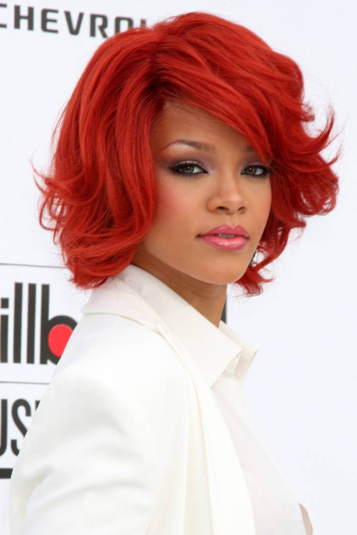 Rihanna red hairstyles 2015