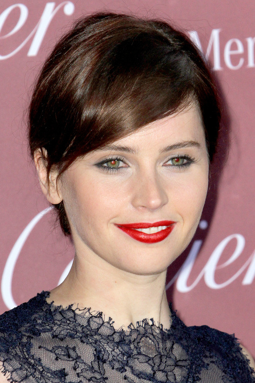 Felicity Jones Bangs hairstyles 2015