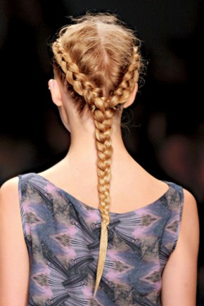Two cornrows Braids Hairstyles 2015