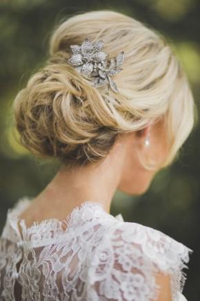 Wedding low bun hairstyles 2015 with jewel piece