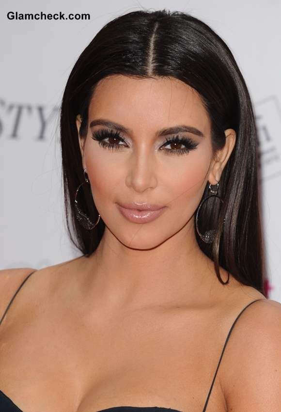 Kim Kardashian Long Sleek Hairstyles 2015