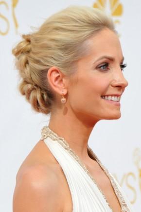 Joanne Froggatt  braided bun hairstyles 2015
