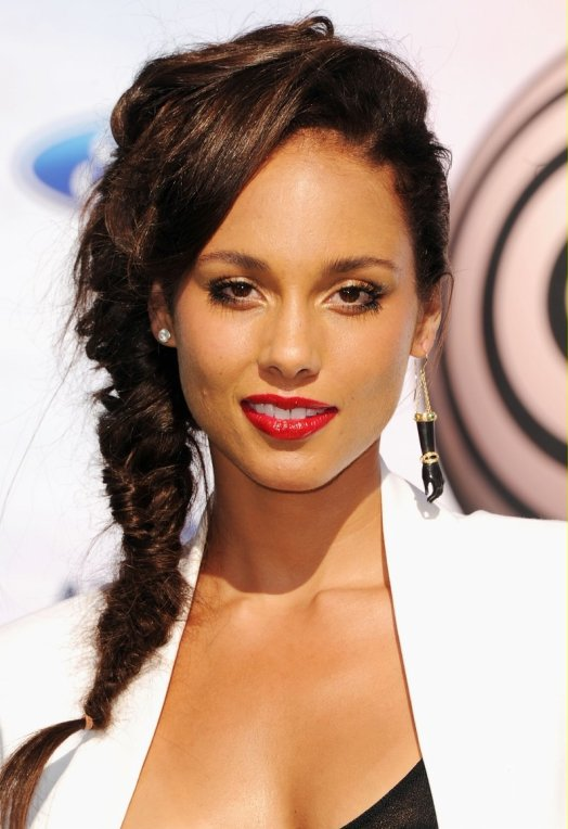 Alicia Keys fishtail braids 2015
