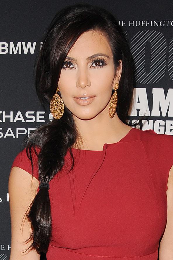 Kim Kardashian fishtail braids 2015