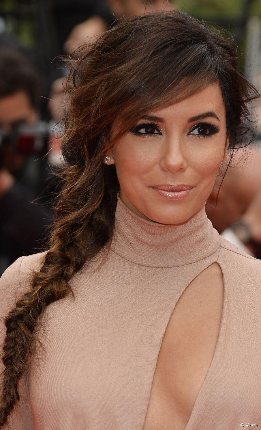 Eva Longoria side fishtail braids 2015