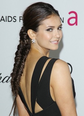 Nina Dobrev fishtail braids 2015