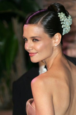 Katie Holmes celebrity updo hairstyles 2015