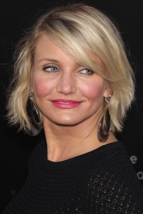 Cameron Diaz short hairstyles with bangs 2015