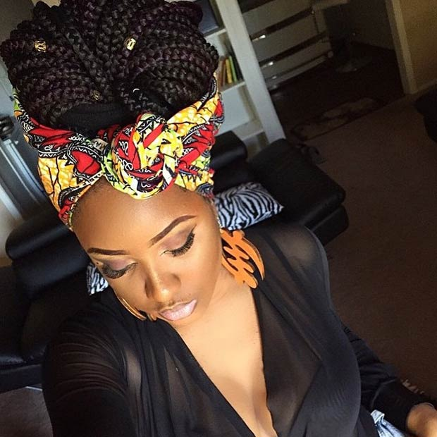Box Braids Hairstyles 2015 with scarf