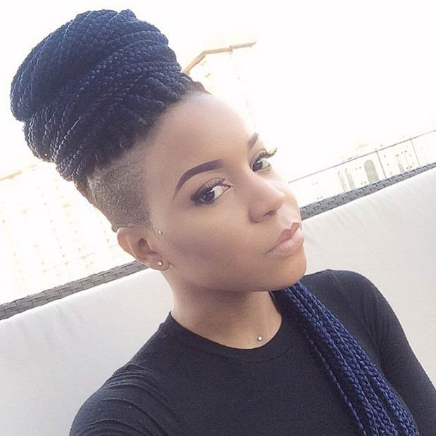 Bun Hairstyles With Box Braids 76
