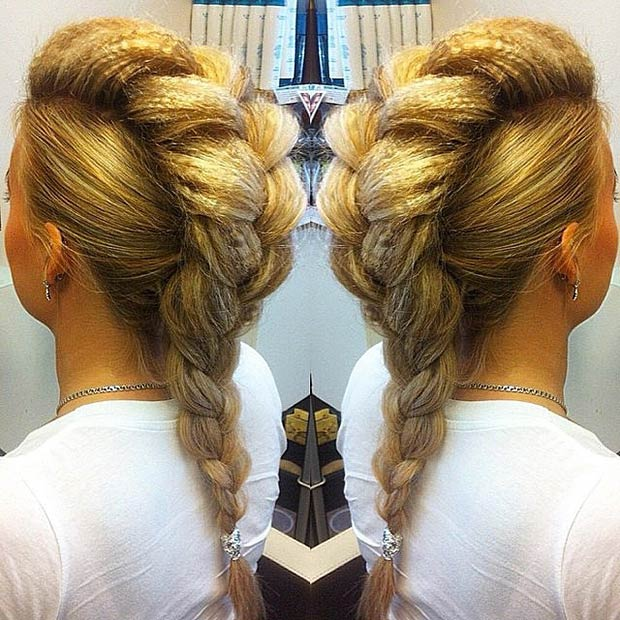 Huge French braid  Faux hawk hairstyles