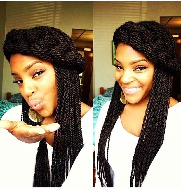 Deep black Senegalese Twist Hairstyles