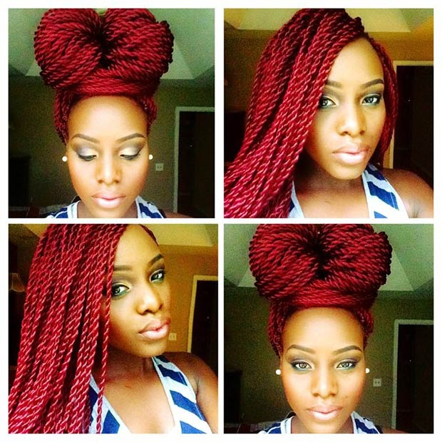 Red color Senegalese Twist Hairstyles