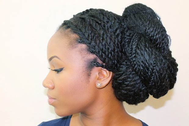 Bun hairstyles from Senegalese Twists