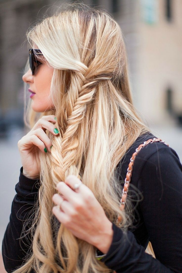 Side fishtail braids for summer 2015
