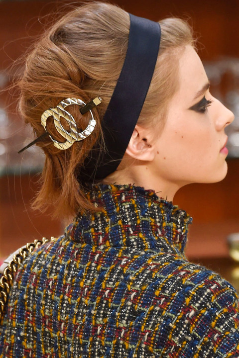 Updo hairstyles for fall 2015 at Chanel