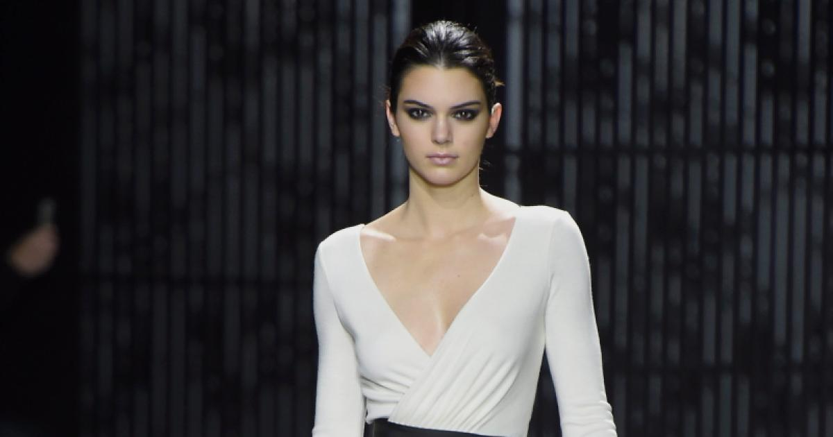 Kendall Jenner fall 2015 updo hairstyles at Diane von Furstenberg