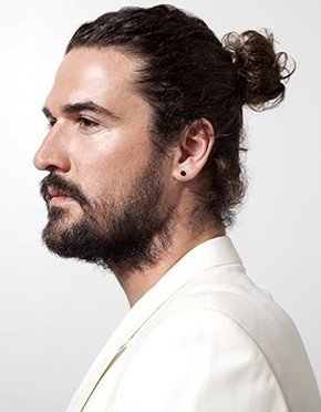 top knot for curly mens hairstyles