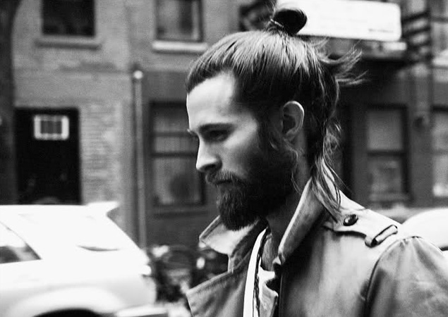 mens hairstyles top knots and beards