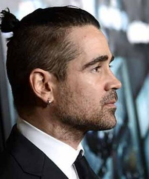 Collin Farrel mens hairstyles top knots 2015
