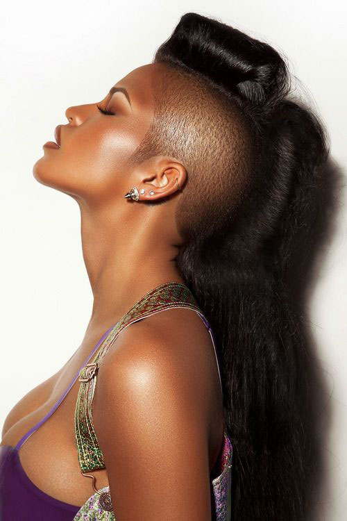 shaved sides long Mohawk hairstyles for black women