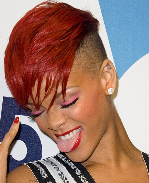 Mohawk Hairstyles For Women 7spiked feathered mohawk Rihanna Red Mohawk
