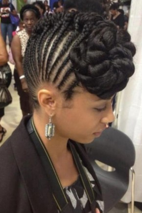 front braid Mohawk hairstyles for black women