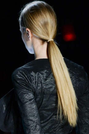 ponytail hairstyles for fall 2015 at Nicole Miller