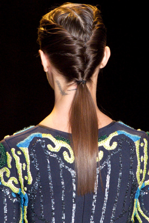 ponytail hairstyles for fall 2015 at Hervé Leger