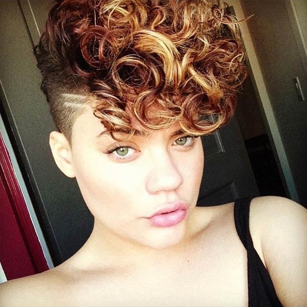 curly Mohawk shaved hairstyles for women
