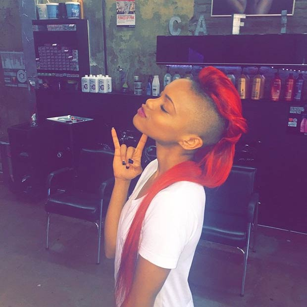 bright red Mohawk shaved hairstyles for women
