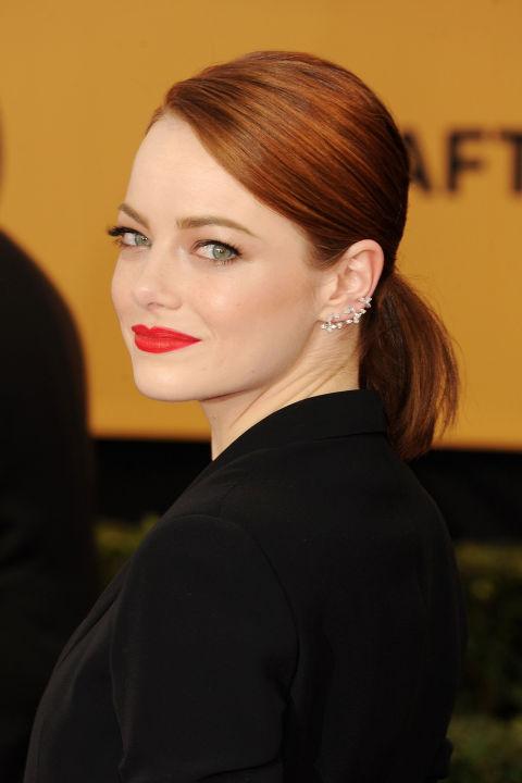 Emma Stone summer ponytails 2015