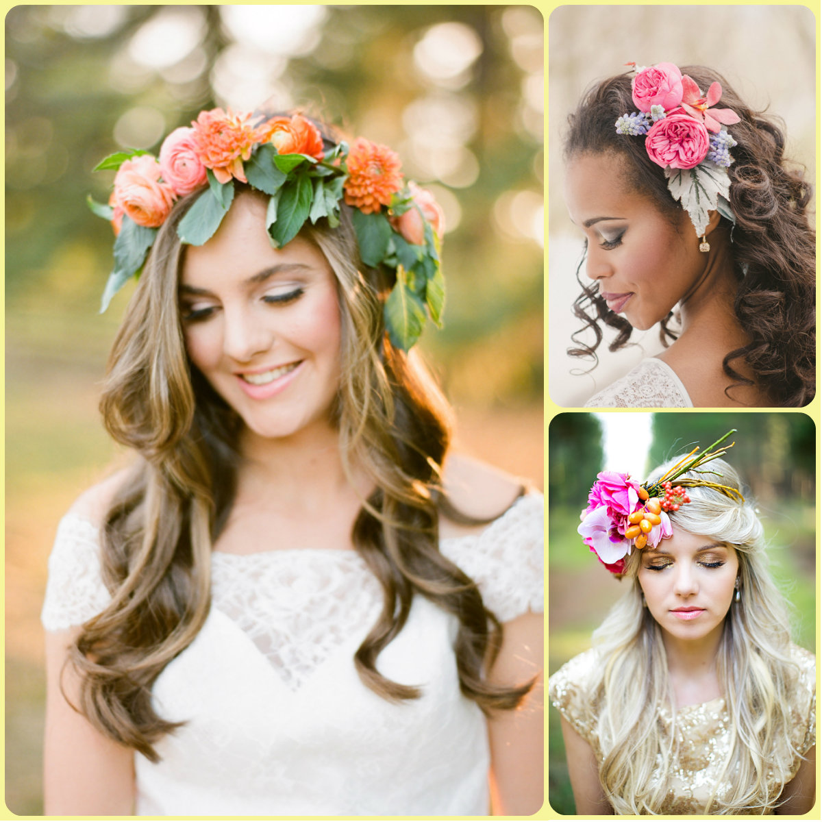 Summer Wedding Hairstyles For Medium Hair : Summer bridal hairstyles with flowers