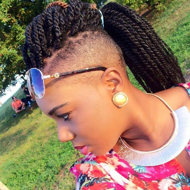 shaved sides twist hairstyles for black women 2015