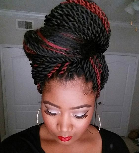 Huge Bun twist hairstyles for black women 2015