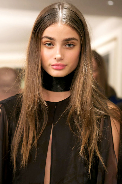 wet effect hairstyles fo fall 2015 at Emilio Pucci