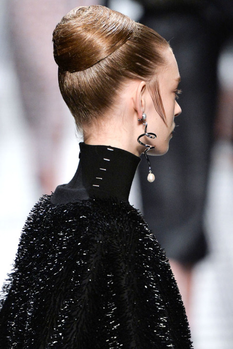 wet effect hairstyles fo fall 2015 at Balenciaga