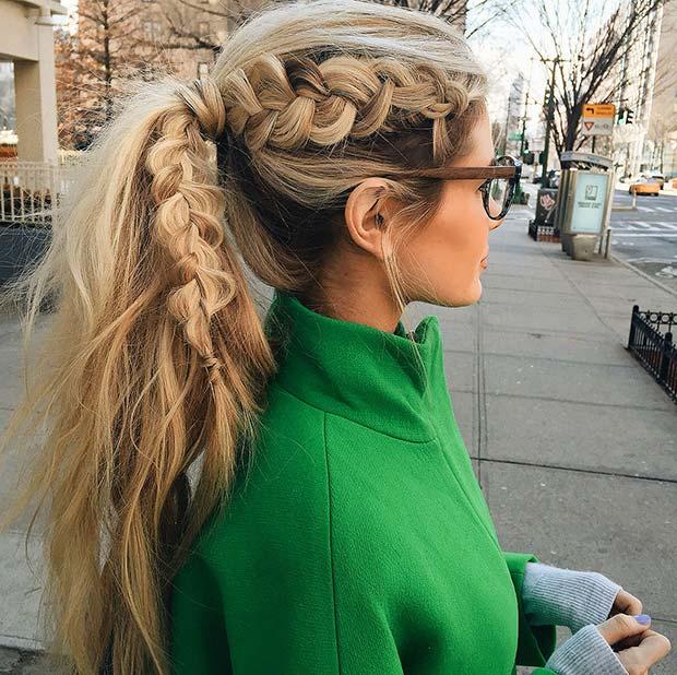 Dutch braid to Ponytail Hairstyles 2015