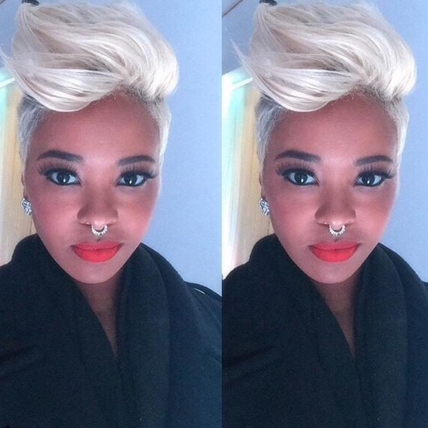 Blonde Mohawk Short Haircuts for Black women 2015