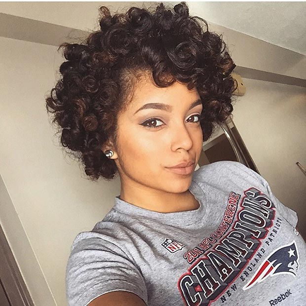Short Bouncy Curls Haircuts for Black women 2015