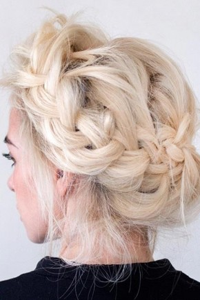 Messy crown braid Updo Hairstyles 2015
