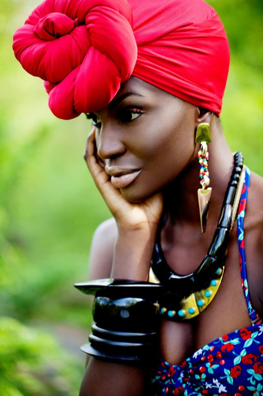 bright red african head wrap hairstyles 2015