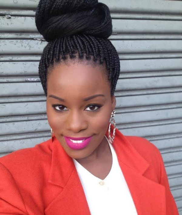 Elegant Bun Box Braids Hairstyles 2016