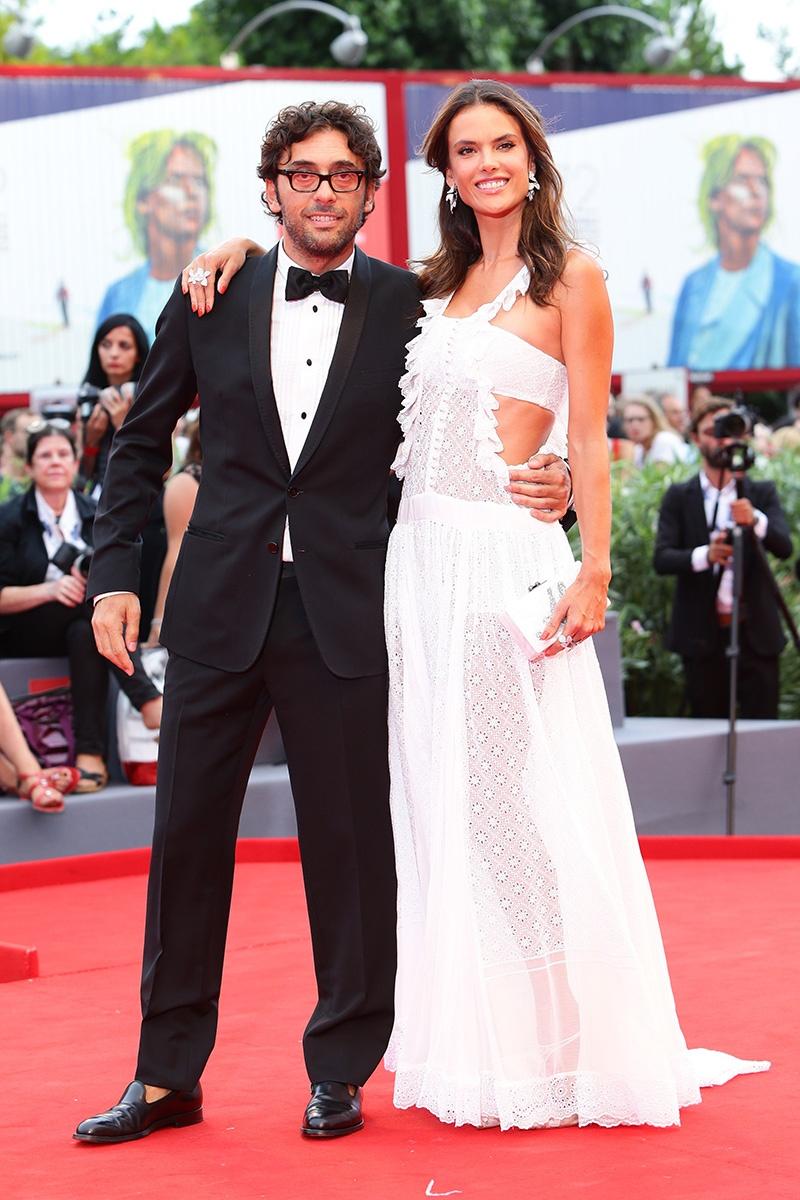 Lorenzo Serafini and Alessandra Ambrosio Venice Film Festival 2015 Hairstyles